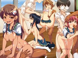 4boys 4girls areolae artist_request ass black_hair blush breasts brown_hair character_request closed_eyes cowgirl_position cum cum_in_mouth feet fellatio flat_chest gangbang glasses group_sex long_hair medium_breasts multiple_boys multiple_girls nipples no_shoes oral orgy original panties panty_pull pink_hair school_uniform serafuku sex shirt_lift short_hair short_twintails smile socks source_request spitroast tears twintails vaginal_penetration