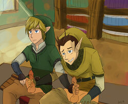 2014 2boys blonde_hair blue_eyes brown_hair fingerless_gloves gay gloves handjob hat jackrabbit-kun link multiple_boys nintendo penis pipit pointy_ears short_hair sitting skyward_sword testicles the_legend_of_zelda under_the_table vambraces yaoi