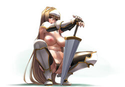 :d areola armor armpits bangs belly black_gloves black_legwear black_panties blonde_hair blush boots breasts brown_eyes brown_hair cameltoe detached_sleeves elbow_gloves fat_mons female fingerless_arm_sleeves fingerless_gloves forehead_protector full_body gloves greaves hair_between_eyes half-closed_eyes hand_on_hilt hands_together happy heels high_heel_boots high_heels highleg highleg_panties large_areola large_breasts long_hair looking_at_viewer navel nipples open_mouth orange_eyes outstretched_arms panties partially_visible_vulva perky_breasts plump pose pussy pussy_juice pussy_peek sagging_breasts sasayuki sennen_sensou_aigis shadow simple_background skintight smile solo spread_legs squatting sweat sword thighhighs thong tiptoes topless unconvincing_armor underwear underwear_only vagina vambraces very_long_hair weapon white_background yellow_eyes zenobia_(sennen_sensou_aigis)