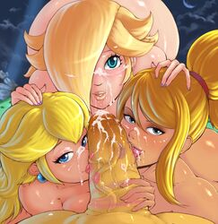 1boy 3girls blonde_hair blue_eyes cum earrings eyeshadow facial fellatio hair_over_one_eye huge_cock lipstick lipstick_mark looking_at_viewer makeup metroid multiple_girls nail_polish nintendo nude penis penis_kiss ponytail pov princess_peach randomboobguy rosalina_(mario) saliva samus_aran smear super_mario_bros. super_mario_galaxy super_smash_bros. tongue tongue_out