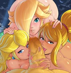 1boy 3girls blonde_hair blue_eyes earrings eyeshadow fellatio hair_over_one_eye huge_cock lipstick lipstick_mark looking_at_viewer makeup metroid multiple_girls nail_polish nintendo nude ponytail pov princess_peach randomboobguy rosalina_(mario) saliva samus_aran smear super_mario_bros. super_mario_galaxy super_smash_bros. tongue