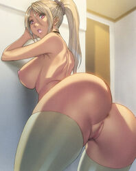 anus arched_back areolae ass bent_over breasts censored female highres hips homare_(fool's_art) huge_ass large_breasts lips lipstick looking_at_viewer looking_back makeup nipples no_panties pink_lips pink_lipstick pussy red_eyes sideboob skindentation thick thick_lips thick_thighs thighhighs thighs white_legwear