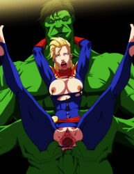 anal anal_sex avengers blonde_hair blue_eyes bodysuit breasts captain_marvel carol_danvers female gloves hulk large_breasts legs_up long_hair male marvel nipple_piercing nipples open_mouth penis piercing pussy raliugaxxx reverse_cowgirl_position toeless_legwear torn_bodysuit torn_clothes