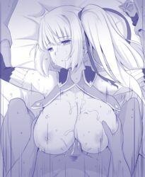 2boys breast_grab breasts broken_rape_victim cum ejaculation elbow_gloves empty_eyes female forced gloves kichi8 large_breasts limalisha long_hair lying madan_no_ou_to_vanadis monochrome multiple_boys on_back open_clothes paizuri penis pov rape restrained side_ponytail tears