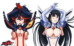 2girls arms_up black_hair blue_eyes breast_grab cleavage cleavage_cutout disembodied_limb disembodied_penis female gloves highlights junketsu kill_la_kill kiryuuin_satsuki long_hair matoi_ryuuko navel open_mouth paizuri penis reit senketsu short_hair suspenders underboob