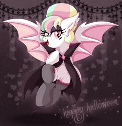 bat_pony cape equine halloween my_little_pony original_character pearly_iridescence pussy stockings tagme wings