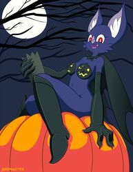 anthro bat body_paint boots breasts cape elbow_gloves furry gloves halloween night nipples nude pumpkin soapmonster