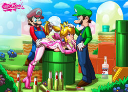beer blonde_hair bodysuit bottle fellatio hair_pull luigi mario mario_bros mario_kart oral ponytail princess_peach spitroast straight super_mario_bros. tekuho tekuhonohabo uncensored vaginal_penetration