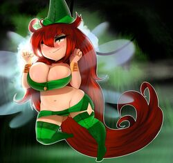 betilla between_breasts blush breasts cleavage curvy fairy forest green_eyes green_panties hat huge_breasts looking_at_viewer miniskirt navel nymph(rayman) outdoors pantyshot plantpenetrator plump pose rayman rayman_origins red_hair smirk thick_thighs thighhighs ubisoft very_long_hair wide_hips wings wristband