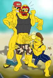 duffman erection gay groundskeeper_willie human muscles penis snake_jailbird the_simpsons