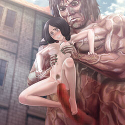 anal areolae armpits black_eyes black_hair blush breast_grab breasts censored clenched_teeth feet female footjob highres legs long_hair long_penis looking_down male mina_carolina navel nipples nude penis pubic_hair pussy rape sex shingeki_no_kyojin size_difference small_breasts spread_legs standing straight tears thighs titan toes twintails youkai_ankake
