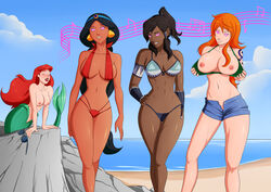 4girls aladdin arabian ariel avatar_the_last_airbender beach bikini bikini_top black_hair breasts breasts_out cleavage dark-skinned_female dark_skin disney earrings female flashing hypnosis jasmine korra large_breasts long_hair mermaid nami navel nipples one_piece oo_sebastian_oo orange_hair ponytail princess_jasmine red_hair shorts smile standing the_legend_of_korra the_little_mermaid