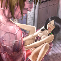 anal areolae black_eyes black_hair blush breasts censored female highres legs long_hair looking_down mina_carolina navel nipples nude open_mouth penis pubic_hair pussy rape saliva sex shingeki_no_kyojin small_breasts spread_legs tears thighs titan twintails youkai_ankake