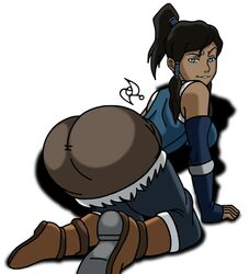 1girl ass avatar_the_last_airbender blue_eyes dark-skinned_female dark_skin dat_ass female korra the_legend_of_korra