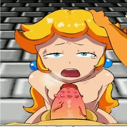 animated blonde_hair blue_eyes cum fellatio princess_peach super_mario_bros.