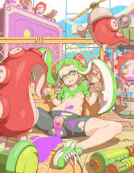 anus bangs bike_shorts blunt_bangs bondage female green_eyes green_hair headphones highres inkling long_hair mask navel nintendo nipples open_mouth paint payot pussy rope shoes sitting small_breasts sneakers solo splatoon spread_legs squid super_soaker tenako tentacle_hair torn_shorts twintails urethra