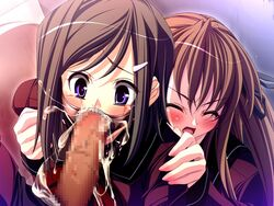 2girls akaten assisted_rape blush brown_hair censored character_request closed_eyes dieselmine fellatio forced gag motto!_seieki_tairyou_chuunyuu! multiple_girls oral penis purple_eyes rape ring_gag school_uniform tears