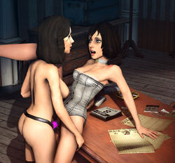 2girls 3d ass bioshock bioshock_infinite blue_eyes breasts brown_hair burial_at_sea choker cleavage corset elizabeth large_breasts long_hair nipples open_mouth pussy selfcest sex_toy short_hair source_filmmaker strapon uncensored vaginal_insertion vaurra video_games yuri
