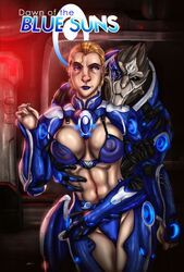 alien bikini_top blonde_hair blue_eyes cleavage erect_nipples female groping human interspecies male mass_effect navel panties short_hair standing turian ultamisia undressing