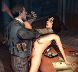 3d asphyxiation bioshock bioshock_infinite blue_eyes booker_dewitt breasts brown_hair choking eating elizabeth food large_breasts male navel nipples open_mouth penis pizza pussy sex short_hair source_filmmaker uncensored vaginal_penetration vaurra video_games