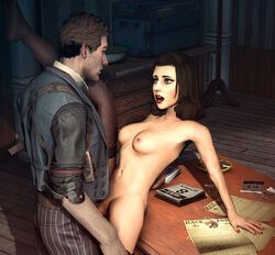 3d bioshock bioshock_infinite blue_eyes booker_dewitt breasts brown_hair burial_at_sea elizabeth large_breasts long_hair male navel nipples open_mouth penis pussy sex source_filmmaker thighhighs uncensored vaginal_penetration vaurra video_games