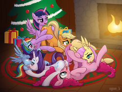 6girls alicorn anus applejack_(mlp) ass blue_eyes blush christmas christmas_tree cunnilingus cutie_mark daisy_chain equine female fire fireplace fluttershy_(mlp) friendship_is_magic furry green_eyes group_sex happy_sex horn horse licking lying multicolored_hair my_little_pony on_floor orgy pegasus pink_fur pinkie_pie_(mlp) pony presents purple_eyes purple_fur pussy pussy_juice rainbow_dash_(mlp) rarity_(mlp) rug sex smile syoee_b the_mane_six tongue tree twilight_sparkle_(mlp) uncensored unicorn wings yuri