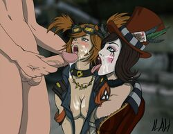 borderlands borderlands_2 breasts cum facial gaige ilah mad_moxxi open_mouth oral