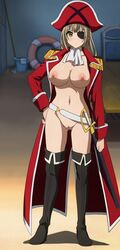 amagi_brilliant_park blush boots breasts brown_eyes brown_hair cleavage eyepatch female full_body hat highres jacket large_breasts long_hair navel nipples nude pirate pirate_hat pussy red_jacket screencap sento_isuzu solo standing sword thigh_boots thighs uncensored weapon yellow_eyes