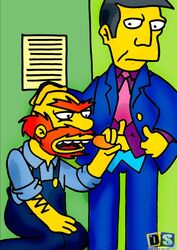 cartoony gay groundskeeper_willie human male male_only multiple_males penis the_simpsons yaoi