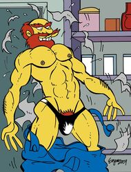 2009 abs beard biceps bulge groundskeeper_willie human male male_only muscles nipples pecs penis pubic_hair solo the_simpsons underwear