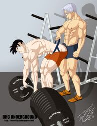 dragon_ball_z gay heyohwhoa jockstrap male male_only mirai_trunks multiple_boys multiple_males son_gohan trunks_briefs weightlifting yaoi