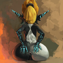 anus ass blonde_hair female gaping imp_midna midna neon_trim nintendo pointy_ears ponytail presenting pussy santafire sitting solo spread_anus the_legend_of_zelda twilight_princess two-tone_skin