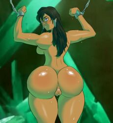 5ifty anus ass big_ass black_hair bondage chains dark-skinned_female dark_skin dat_ass female female_only from_behind highres human korra long_hair looking_back nude pussy shackles shiny shiny_skin sideboob solo standing sweat sweatdrop the_legend_of_korra twintails wet