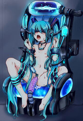 absurdres aqua_hair blindfold bondage bondage breasts collar dildo frogtie hatsune_miku highres long_hair nude object_insertion open_mouth pussy pussy_juice rape rinkashline sensory_deprivation sex_machine small_breasts twintails uncensored very_long_hair vocaloid