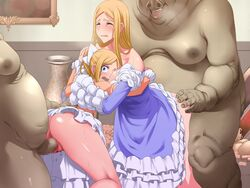 2girls ass ass_grab blonde_hair blood blue_eyes blush breast_press breasts censored closed_eyes dress dress_lift hair_ribbon highres kinoshita_(air_hike) large_breasts legs long_hair looking_back multiple_girls no_panties open_mouth orc orgy penis ponytail pussy rape standing sweat tears thighs virgin