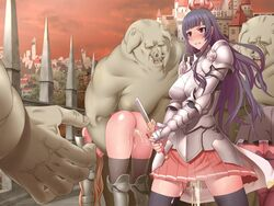 3girls angry armor blood blue_hair blush breasts broken_sword castle censored cum cum_in_pussy cumdrip highres kinoshita_(air_hike) large_breasts legs long_hair looking_away multiple_girls no_panties orc pussy red_eyes skirt standing sweat sword thighhighs thighs virgin weapon