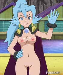1girl blue_eyes blue_hair breasts cape clair_(pokemon) earrings edit gloves hand_on_hip navel nipples nude nude_filter pokecatt pokemon pussy screencap smile solo water