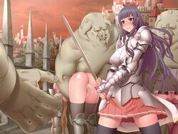 3girls angry armor blue_hair blush breasts castle censored cum cum_in_pussy cumdrip highres kinoshita_(air_hike) large_breasts legs long_hair looking_away multiple_girls no_panties orc pussy red_eyes skirt standing sweat sword thighhighs thighs weapon