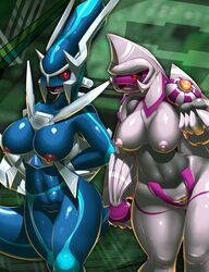 2girls abs areola arms_behind_back blue_skin breasts curvy dialga elpatrixf erect_nipples fangs grey_skin highres huge_breasts legendary_pokemon navel nintendo nipples open_mouth palkia pokemon pokephilia pussy red_eyes shiny shiny_skin standing thick_thighs uncensored