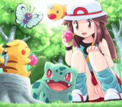 ^_^ berry blue_(pokemon) brown_eyes brown_hair bulbasaur butterfree closed_eyes eating fangs female grass hat long_hair loose_socks no_panties open_mouth pecha_berry pikachu pokemoa pokemon pokemon_(game) red_eyes sitting socks squatting tree tree_stump weedle wristband