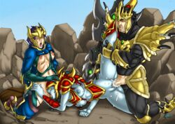 jarvan_iv league_of_legends mad-project quinn shyvana threesome uncensored