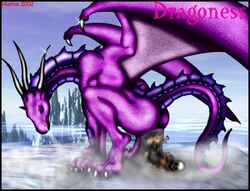 dragon dragoness female female markie scalie scat solo squatting tail wings