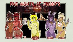 bonnie chica cuteemmy five_nights_at_freddy's foxy freddy_fazbear golden_freddy rule_63 topless