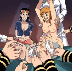 breasts female foot_fetish medium_breasts nami nico_robin nipples one_piece topless