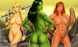 3girls abs anus armlet ass backboob blonde_hair bloodfart blue_eyes braids breasts butt chains circlet dat_ass female green_eyes green_hair green_skin hand_on_hip large_breast long_hair marvel navel nude orange_hair pubic_hair pussy she-hulk standing sword thor_(series) thundra twin_braids uncensored valkyrie weapon wristband