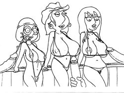 bikini cowboy_hat cum_on_face family_guy female human jillian_russell large_breasts lois_griffin male meg_griffin monochrome sbb straight