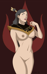 avatar_the_last_airbender breasts brown_eyes female firelord_izumi glasses grey_hair large_breasts long_hair milf nipples pussy quasi99 solo standing the_legend_of_korra