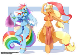 anthro applejack_(mlp) friendship_is_magic harem_girl mleonheart my_little_pony rainbow_dash_(mlp)