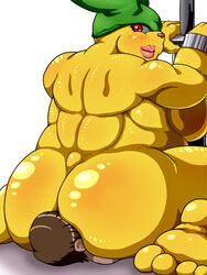 ass chubby face_sitting faceless_male gotobeido happy huge_breasts large_ass large_breast looking_back male monster_girl muscle muscle_tone muscular_female notso_macho oral pink_lips rule_63 sideboob size_difference smile thick_lips yellow_skin