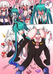 2girls ahoge all_fours belt blush boots breasts broken_condom chestnut_mouth cleavage closed_eyes condom condom_filling condom_on_penis detached_sleeves doggy_style full-package_futanari futanari green_eyes green_hair hands_clasped hatsune_miku heart long_hair midriff motion_lines multiple_girls necktie niwakaame_(amayadori) open_mouth panties pants pussy red_eyes saliva sex spoken_heart striped striped_panties sweat tears testicles thigh_boots thighhighs tongue torn_clothes torn_pants trembling twintails underwear used_condom vaginal_penetration very_long_hair vocaloid wavy_mouth white_hair x-ray yowane_haku